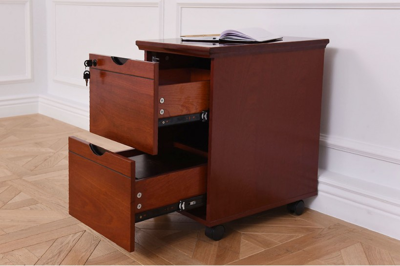 Cassettiera su ruote per ufficio con chiave in legno noce ...