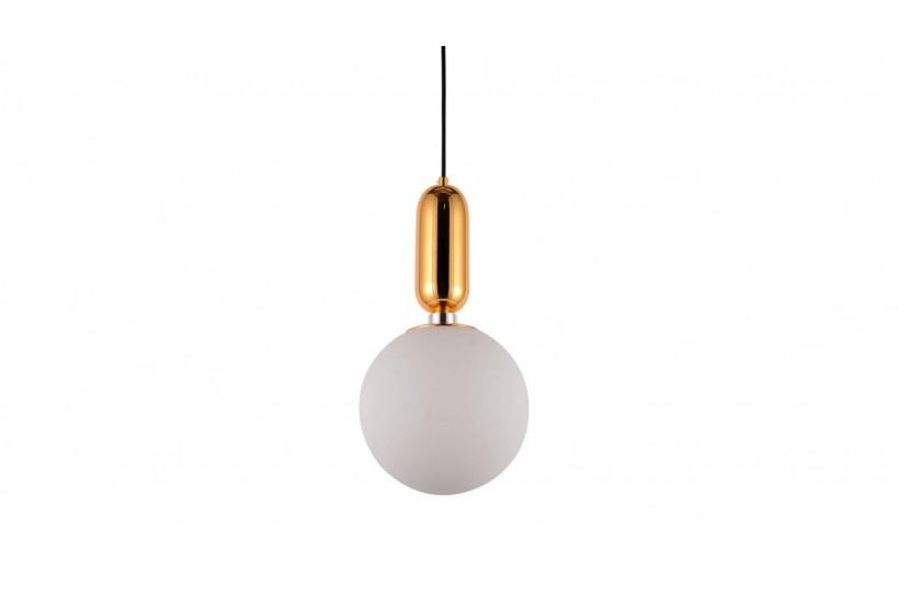 Lampada a sospensione di design a sfera in vetro bianco ORITO D20 Oro