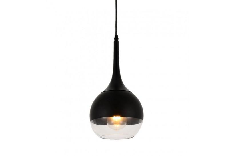 Lampada a sospensione moderno di design in vetro colore nero e trasparente FRUDO