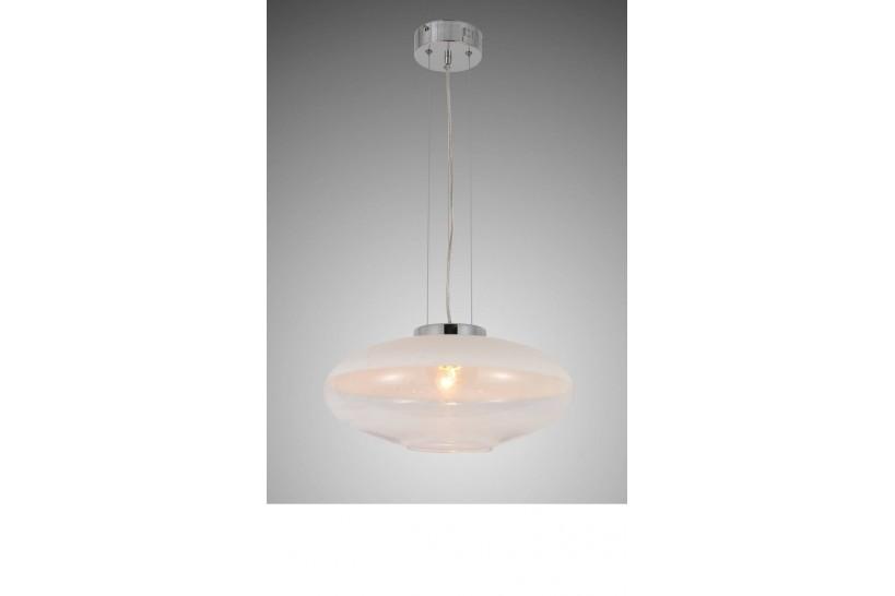 Lampada a sospensione moderno di design in vetro colore bianco e trasparente RAVEO D40