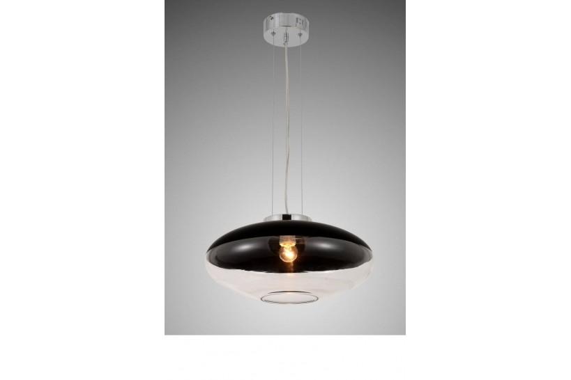 Lampada a sospensione moderno di design in vetro colore nero e trasparente RAVEO D40