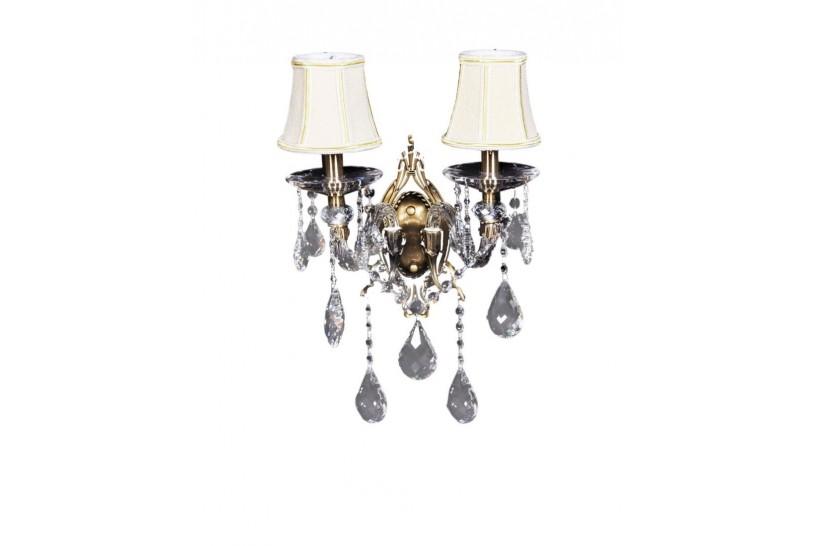 Applique lampada da parete di cristallo classico Bianca W2