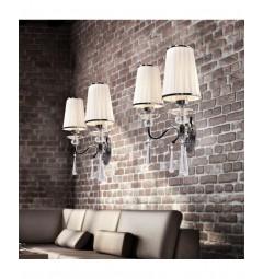 Applique lampada da parete con 2 bracci in cristallo Federrica W2 Bianco