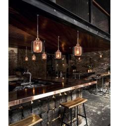 Lampada design a sospensione a forma vaso in vetro Bessa colore Oro Rosa