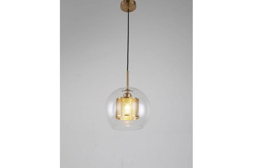 Lampada a sospensione moderno di design con sfera in vetro PONTINA OTTONE