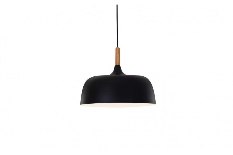 Lampada a sospensione moderno di design in stile scandinavo nordico, paralume in legno e metallo colore nero BERSI D32