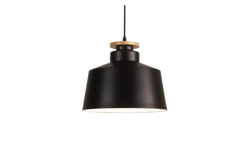 Lampada a sospensione moderno di design in stile scandinavo nordico, paralume in legno e metallo colore nero LEVANTI D30