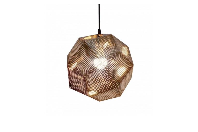 Lampada a sospensione in stile moderna di design, paralume in metallo forma geometrica Etch colore oro ASCONA
