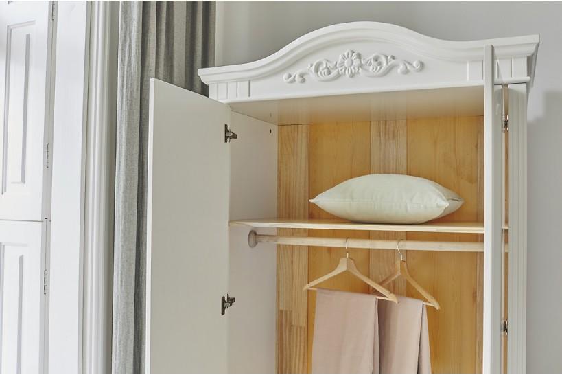 Armadio provenzale in legno bianco di Alta Qualità 2 Ante ...