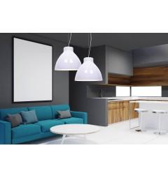 Lampada moderno di design a sospensione per casa cucina bar ristorante in metallo colore Bianco Cornella