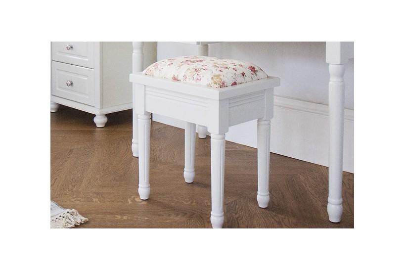 Sgabello basso per la camera da letto in legno bianco
