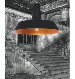 Lampadario in Stile Industriale vintage a sospensione Saggi colore Nero Opaco Centro Oro