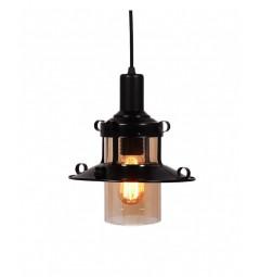 Lampada design a sospensione Capri in metallo e vetro oscurato colore Nero