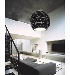 Lampadario moderno di design, paralume in metallo diametro 30 cm colore nero BOKKA