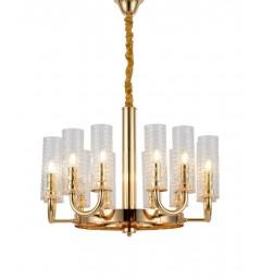 Lampadario a sospensione design moderno di metallo colore oro con paralume in vetro trasparente con 12 punti di luce DONATTI W12
