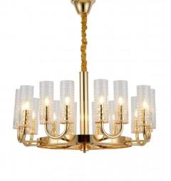 Lampadario a sospensione design moderno di metallo colore oro con paralume in vetro trasparente con 16 punti di luce DONATTI W16