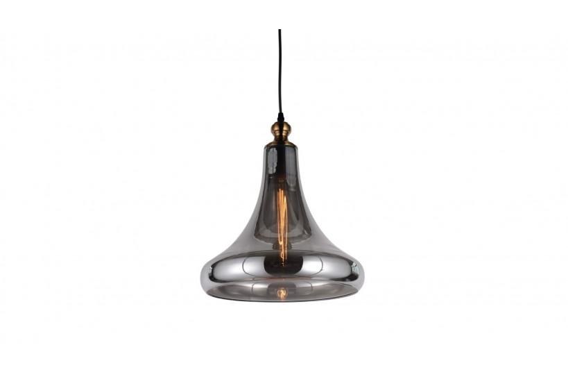 Lampada a sospensione moderno di design forma di campana in vetro colore grigio fumo ZAGA
