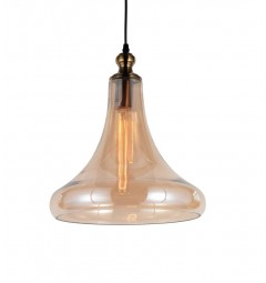 Lampada a sospensione moderno di design forma di campana in vetro colore ambra ZAGA