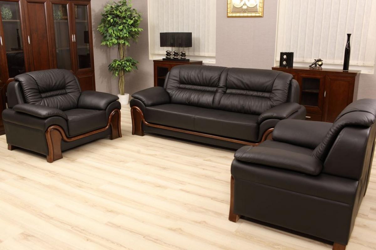 Divano completo più poltrone set salotto vera pelle colore nero