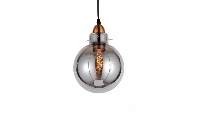 Lampada a sospensione moderno di design in vetro a sfera colore grigio fumo CALVI