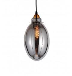 Lampada a sospensione moderno di design forma di oliva in vetro colore grigio fumo RENTON