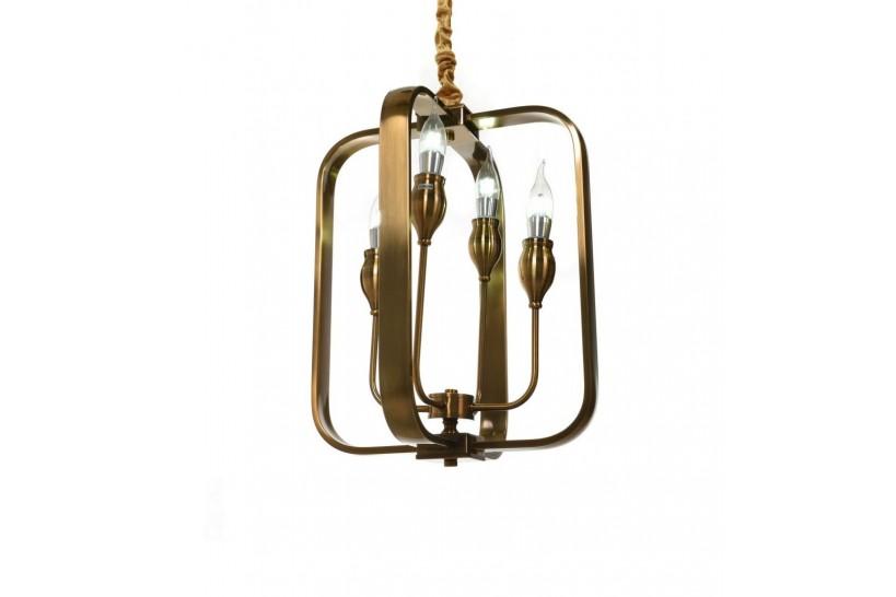Lampadario a sospensione in stile classico vintage 4 punti luce in metallo colore ottone FLORIDA W4