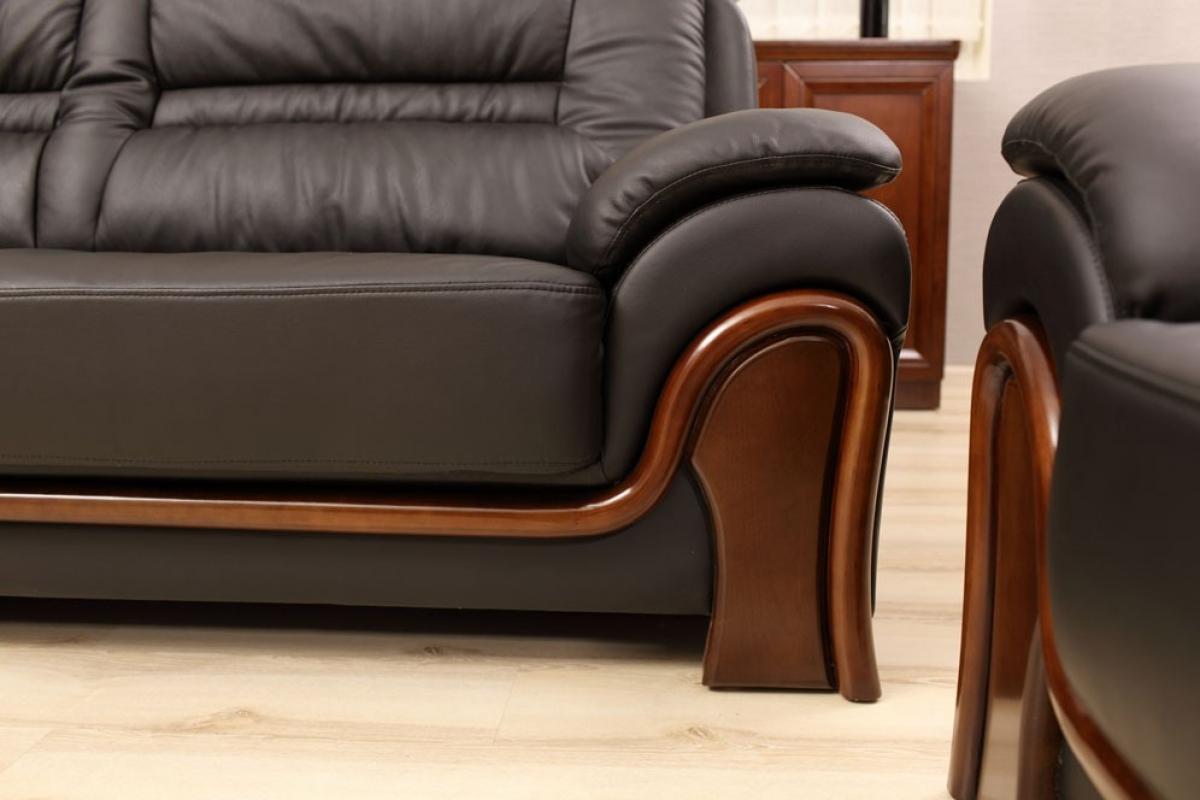 Divano sofa elegante 3 posti in vera pelle per ufficio studio casa palladio nero - Divano in pelle nero ...
