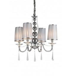 Lampadario a sospensione classico in metallo, tessuto e cristallo con 4 punti di luce Fabione W4 colore Cromato