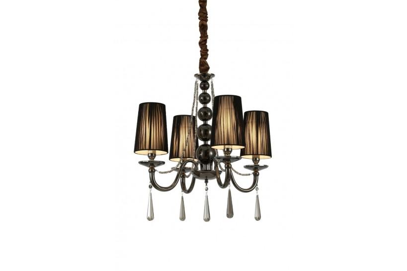 Lampadario a sospensione classico in metallo, tessuto e cristallo con 4 punti di luce Fabione W4 colore Nero