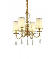 Lampadario a sospensione classico in metallo, tessuto e cristallo con 4 punti di luce Fabione W4 colore oro