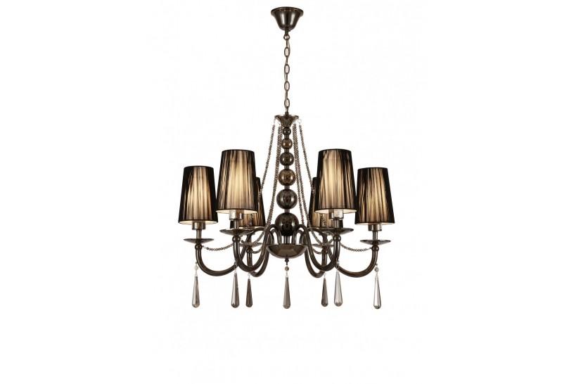 Lampadario a sospensione classico in metallo, tessuto e cristallo con 6 punti di luce Fabione W6 colore Nero