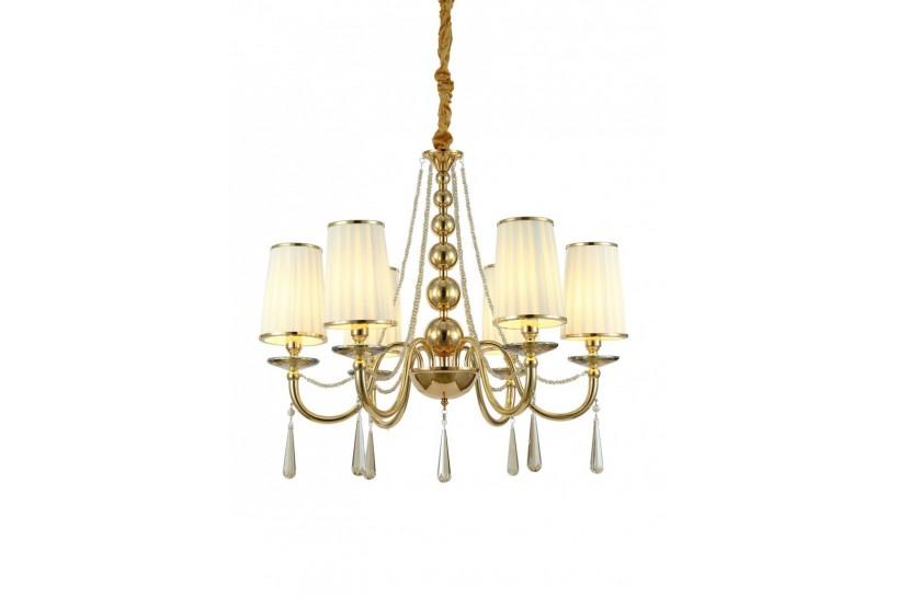 Lampadario a sospensione classico in metallo, tessuto e cristallo con 6 punti di luce Fabione W6 colore oro