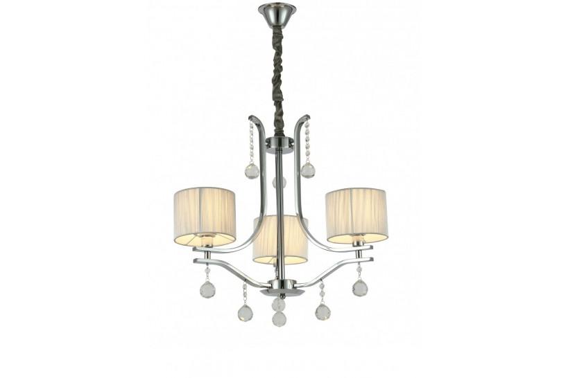 Lampadario a sospensione classico con 3 punti di luce, in metallo Cromato e cristallo, paralume in tessuto crema Fontenea W3