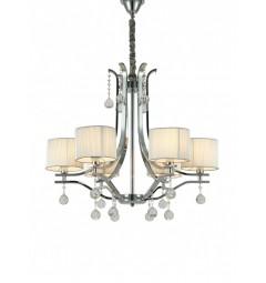 Lampadario a sospensione classico con 6 punti di luce, in metallo Cromato e cristallo, paralume in colore crema Fontenea W3
