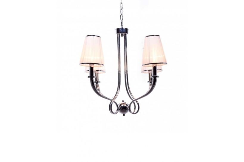 Lampadario a sospensione moderno con 4 punti di luce in metallo cromato, paralume in tessuto colore bianco Lorinta W4