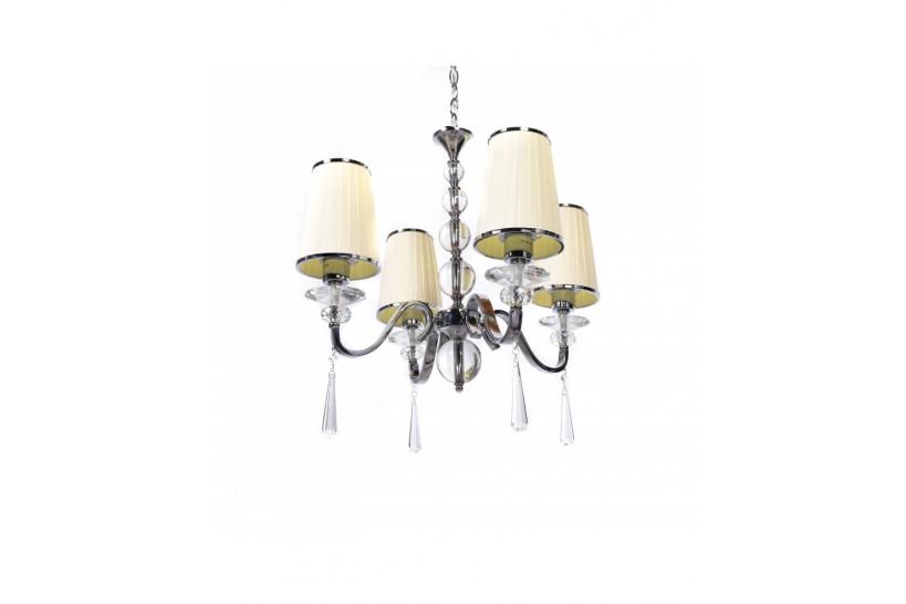 Lampadario economico in stile classico con 4 punti di luce beige per arredare la casa in stile inglese