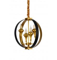 Lampadario a sospensione in stile industriale vintage di metallo colore nero e oro con 4 punti di luce DEMETRA