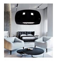 Lampadario moderno a sospensione in vetro con cristalli DISPOSA D40 Nero