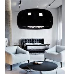 Lampadario a sospensione in vetro nero con cristalli DISPOSA D50 colore Nero