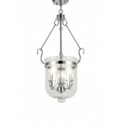 Lampadario a sospensione stile classico vintage 3 punti luce in vetro e metallo cromato LEO