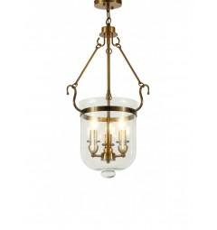 Lampadario a sospensione in stile classico vintage 3 punti luce in vetro e metallo colote ottone LEO