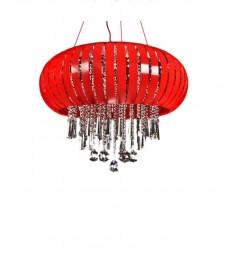 Lampadario a sospensione moderno a LED con cristalli e metallo colore rosso Armada