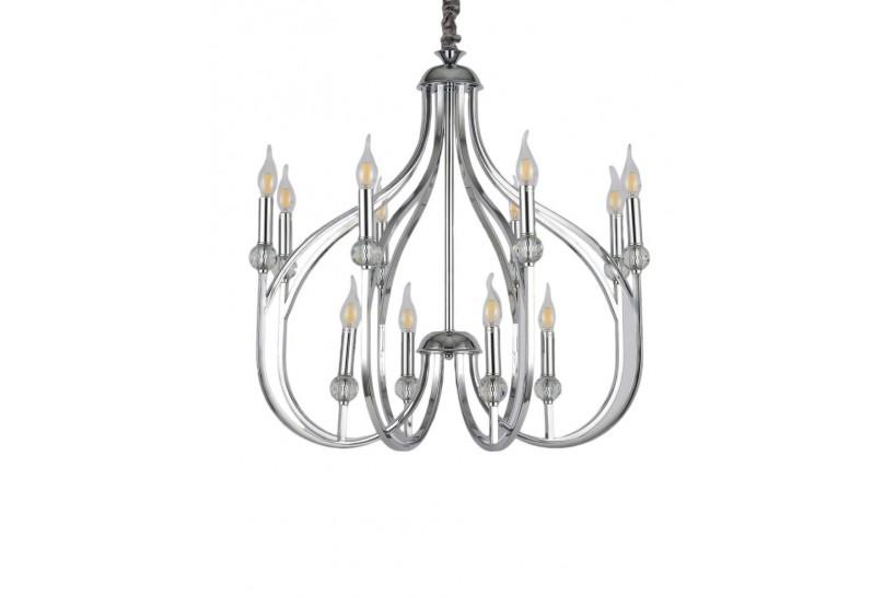 Lampadario a sospensione moderno di design in metallo cromato 12 punti luce ARCHETYPE.