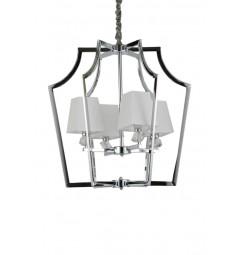 Lampadario a sospensione moderno metallo cromato e cristalli con paralume in tessuto ignifugo bianco 4 punti di luce MONTERO