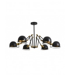 Lampada a sospensione in stile industriale vintage con 6 punti luce di metallo colore nero VALMONTI W6