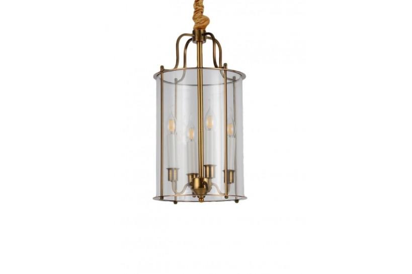 Lampadario a sospensione in stile classico vintage 4 punti luce in vetro e metallo colore ottone MICONOS