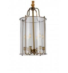 Lampadario a sospensione in stile classico vintage 6 punti luce in vetro e metallo colore ottone MICONOS