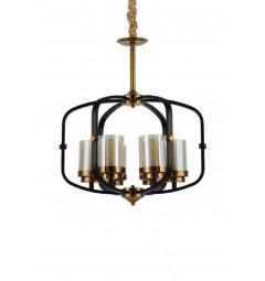Lampadario a sospensione in stile industriale vintage di metallo nero ottone paralume in vetro 6 luce BONTON W6