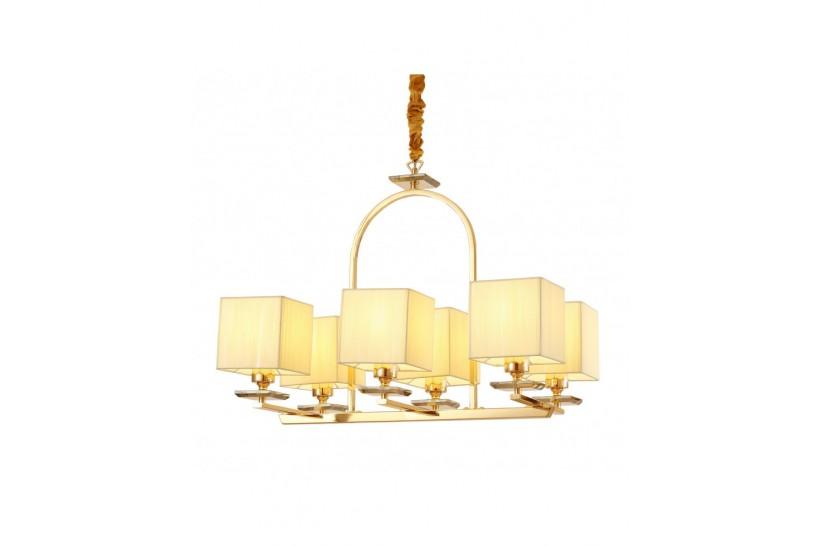 Lampadario a sospensione in metallo, tessuto e cristali con 6 punti di luce Liniano W6 colore Oro