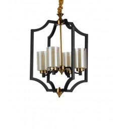 Lampadario a sospensione stile industriale vintage in gabbia di metallo colore nero e ottone VIGATTO W4
